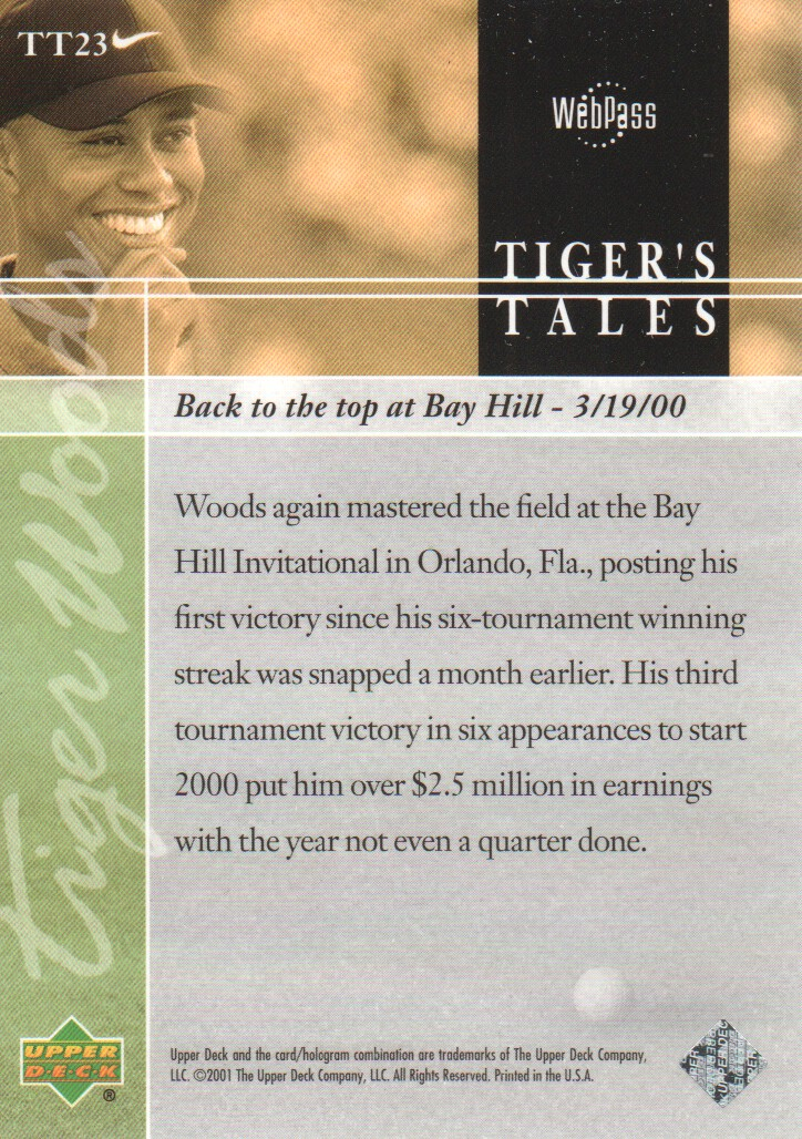 2001-Upper-Deck-Tiger-039-s-Tales-Golf-Cards-Pick-From-List miniature 47