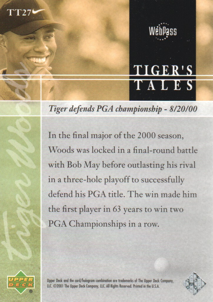 2001-Upper-Deck-Tiger-039-s-Tales-Golf-Cards-Pick-From-List miniature 55