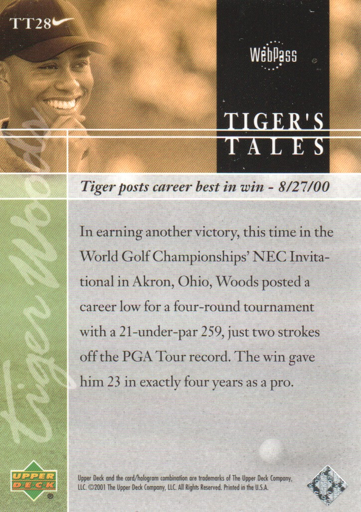 2001-Upper-Deck-Tiger-039-s-Tales-Golf-Cards-Pick-From-List miniature 57