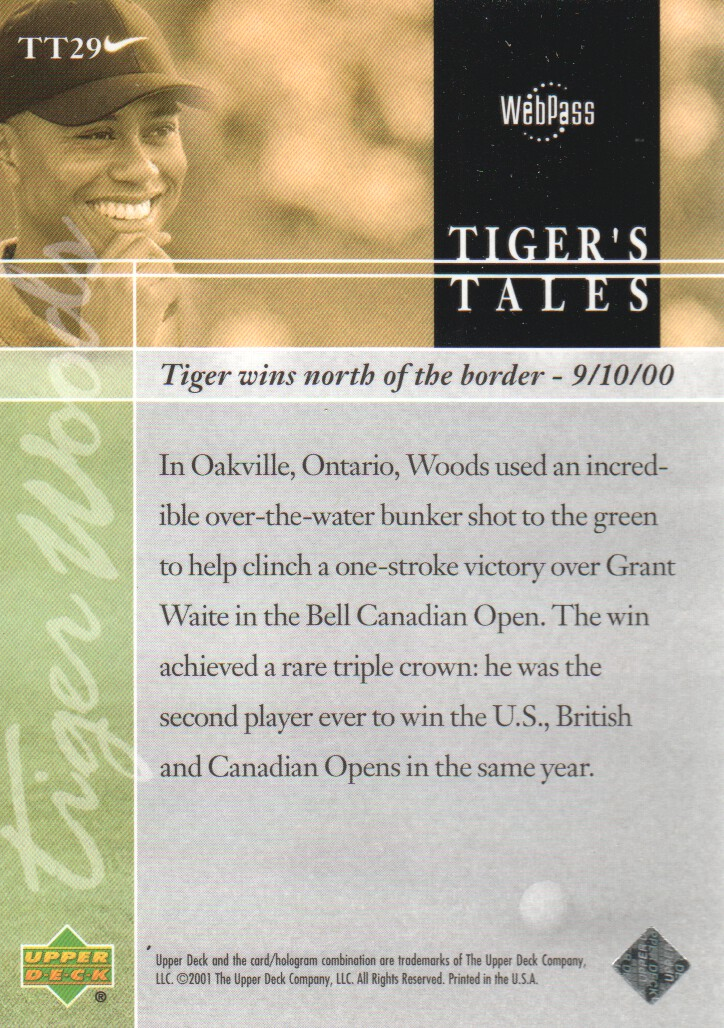 2001-Upper-Deck-Tiger-039-s-Tales-Golf-Cards-Pick-From-List miniature 59