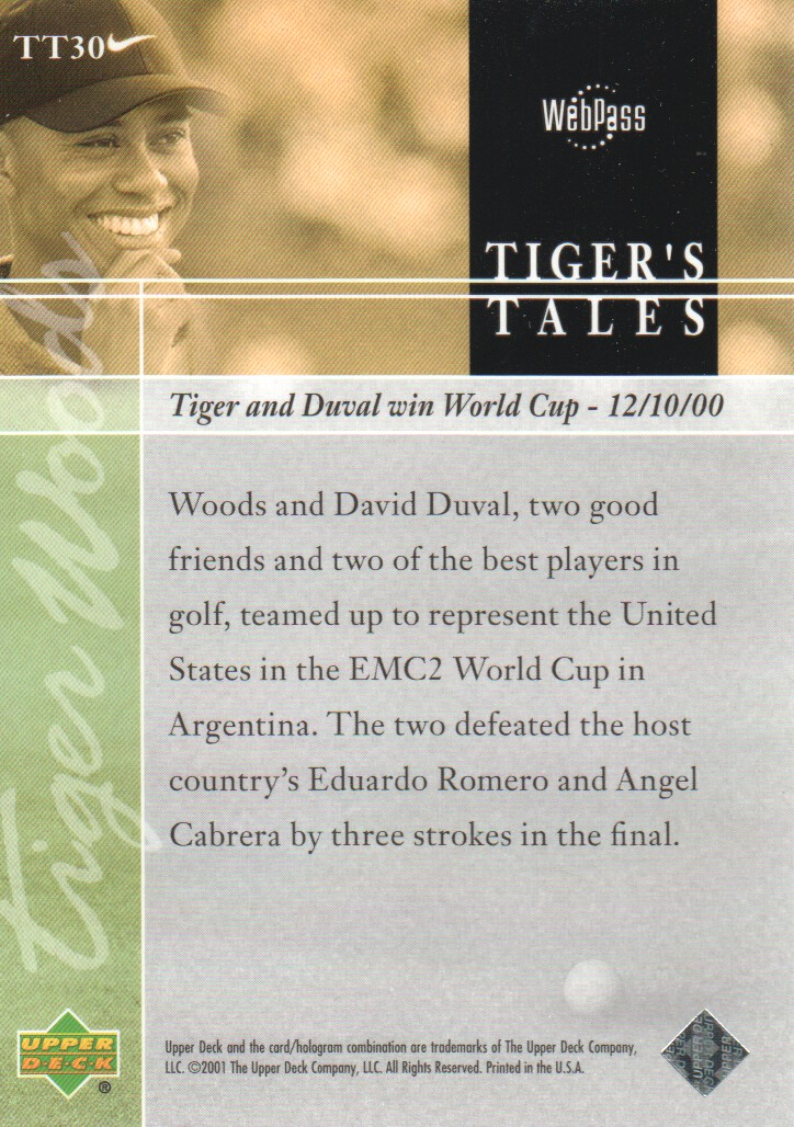 2001-Upper-Deck-Tiger-039-s-Tales-Golf-Cards-Pick-From-List miniature 61