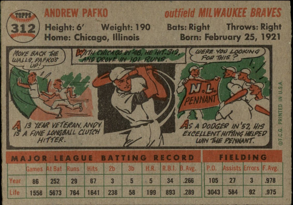 1956-TOPPS-BASEBALL-ASSORTED-SINGLES-U-PICK-242-319 thumbnail 212