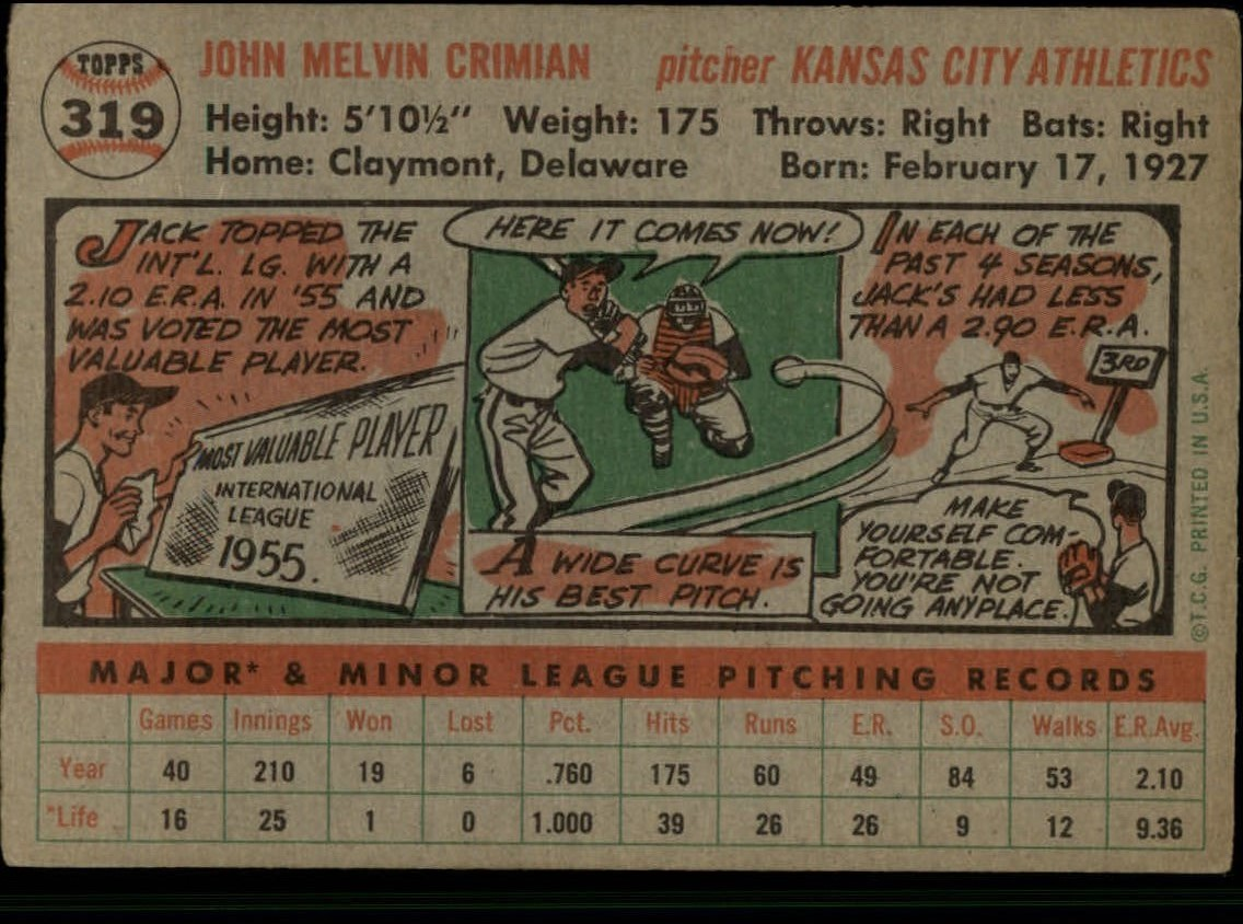 1956-TOPPS-BASEBALL-ASSORTED-SINGLES-U-PICK-242-319 thumbnail 226
