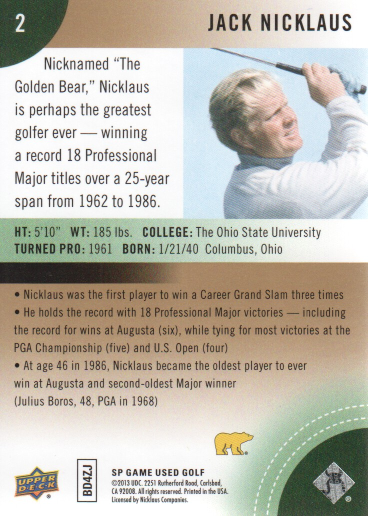 2014-SP-Game-Used-Edition-Golf-Cards-Pick-From-List miniature 3