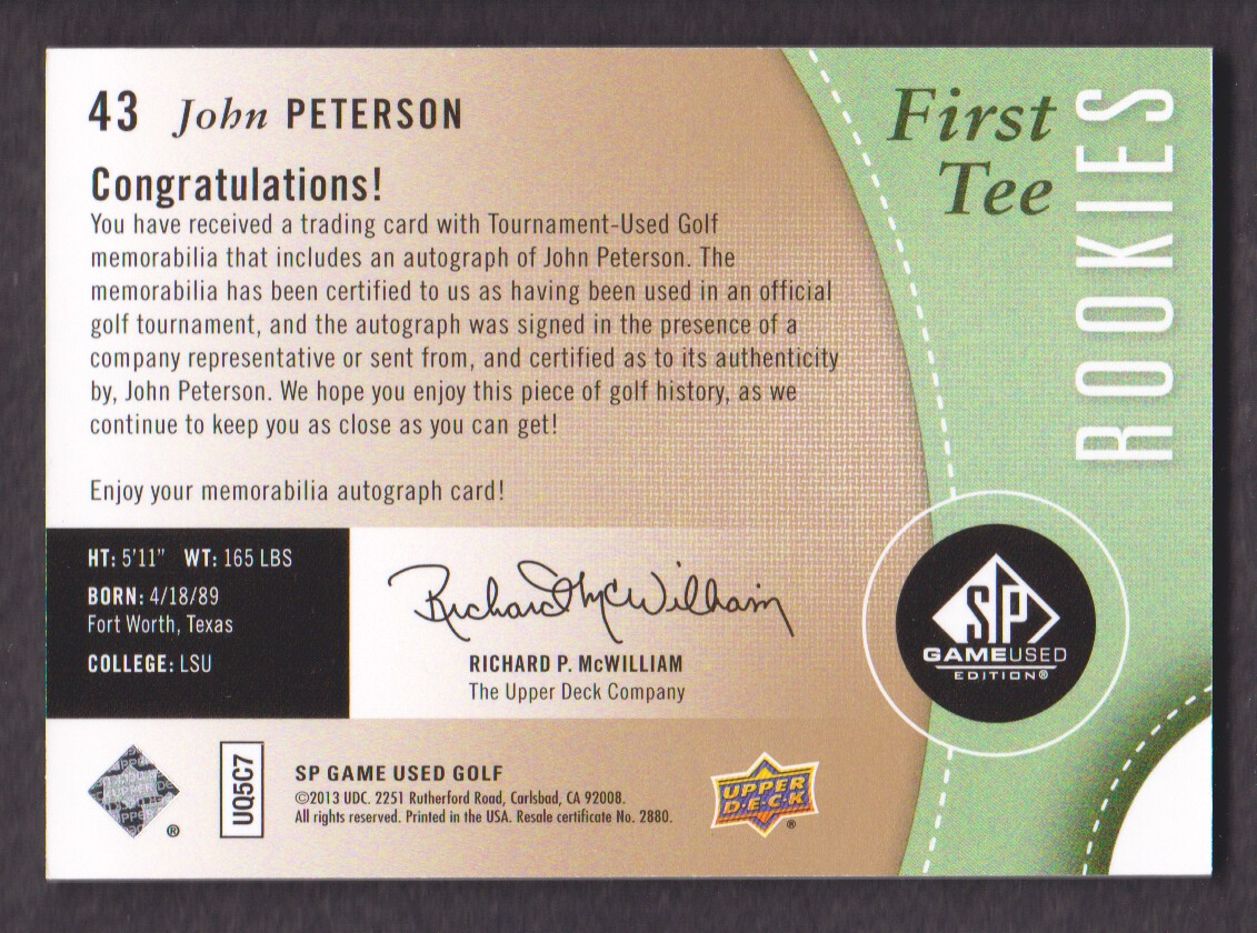2014-SP-Game-Used-Edition-Golf-Cards-Pick-From-List miniature 71