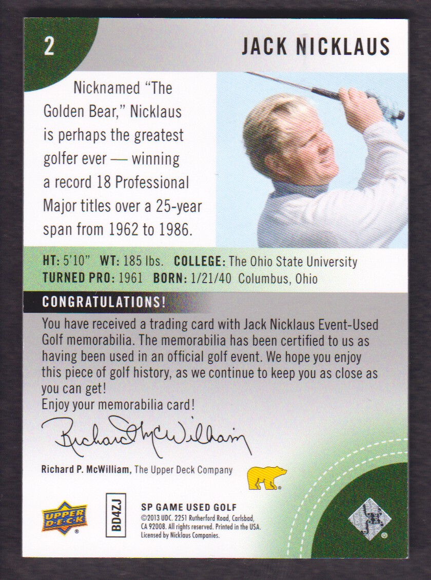 2014-SP-Game-Used-Edition-Golf-Cards-Pick-From-List miniature 153