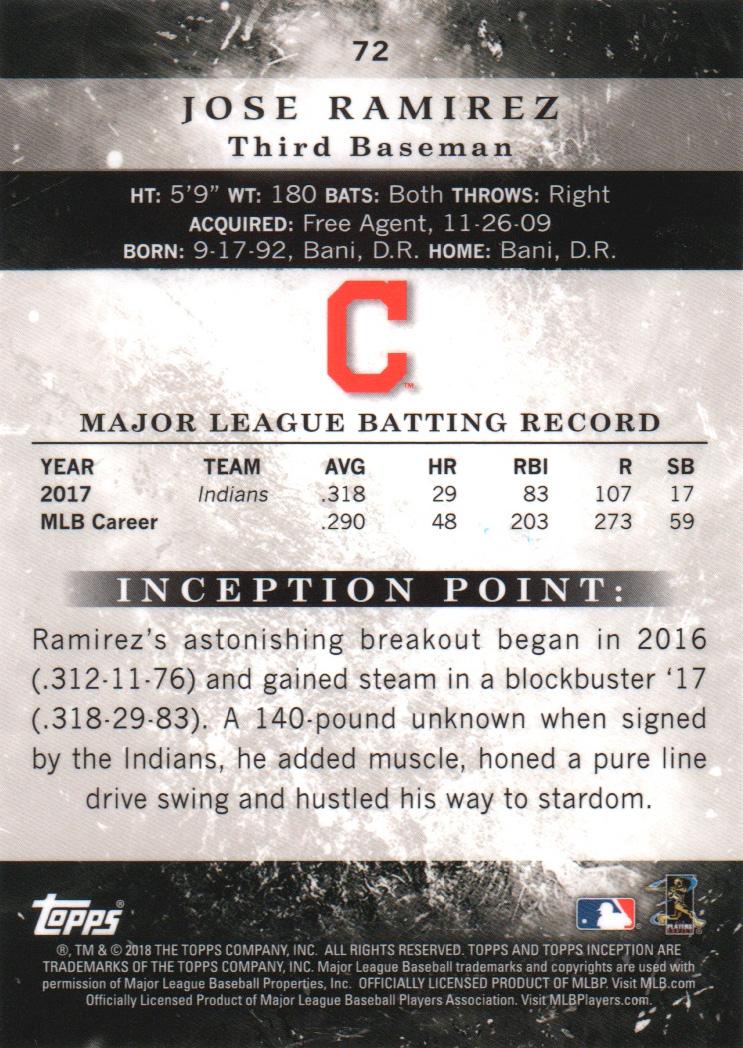 2018-Tarjeta-de-beisbol-Topps-Inception-Pick miniatura 67