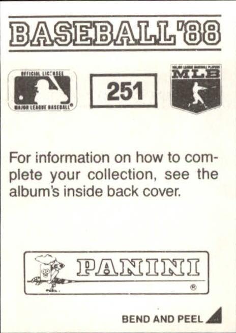 thumbnail 5 - 1988 Panini Stickers Baseball Cards 250-480 (A4394) - You Pick - 10+ FREE SHIP