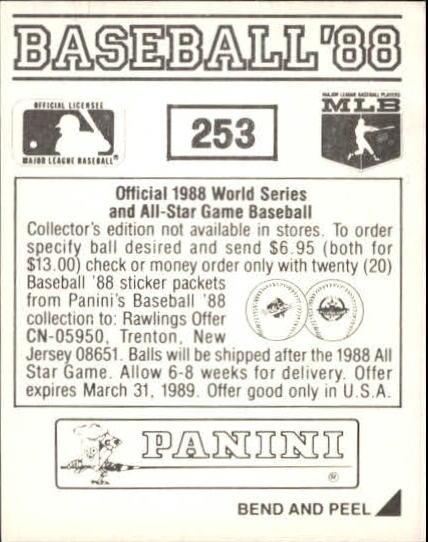 thumbnail 7 - 1988 Panini Stickers Baseball Cards 250-480 (A4394) - You Pick - 10+ FREE SHIP