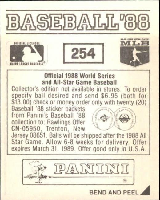 thumbnail 9 - 1988 Panini Stickers Baseball Cards 250-480 (A4394) - You Pick - 10+ FREE SHIP