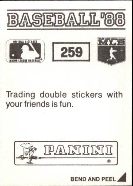 thumbnail 17 - 1988 Panini Stickers Baseball Cards 250-480 (A4394) - You Pick - 10+ FREE SHIP