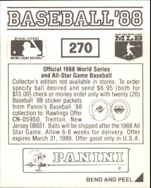 thumbnail 33 - 1988 Panini Stickers Baseball Cards 250-480 (A4394) - You Pick - 10+ FREE SHIP