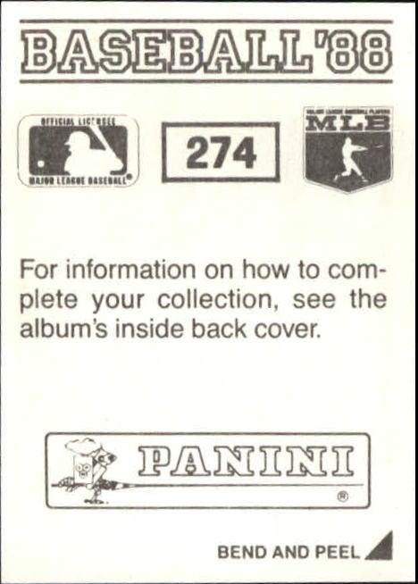 thumbnail 41 - 1988 Panini Stickers Baseball Cards 250-480 (A4394) - You Pick - 10+ FREE SHIP