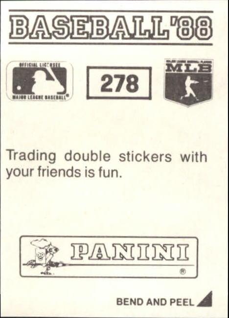 thumbnail 49 - 1988 Panini Stickers Baseball Cards 250-480 (A4394) - You Pick - 10+ FREE SHIP