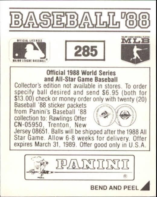 thumbnail 63 - 1988 Panini Stickers Baseball Cards 250-480 (A4394) - You Pick - 10+ FREE SHIP