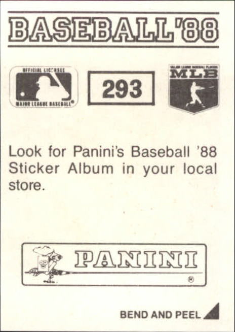 thumbnail 75 - 1988 Panini Stickers Baseball Cards 250-480 (A4394) - You Pick - 10+ FREE SHIP