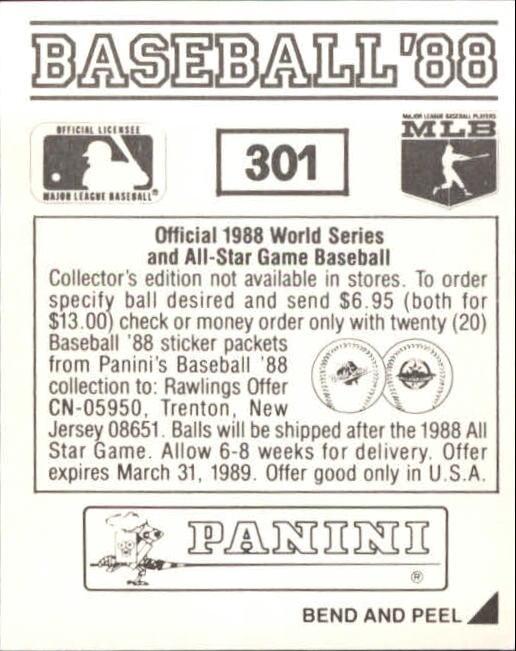 thumbnail 83 - 1988 Panini Stickers Baseball Cards 250-480 (A4394) - You Pick - 10+ FREE SHIP