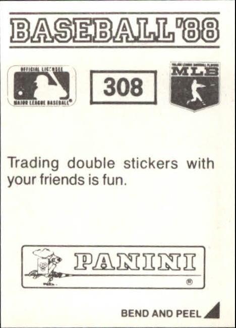 thumbnail 93 - 1988 Panini Stickers Baseball Cards 250-480 (A4394) - You Pick - 10+ FREE SHIP