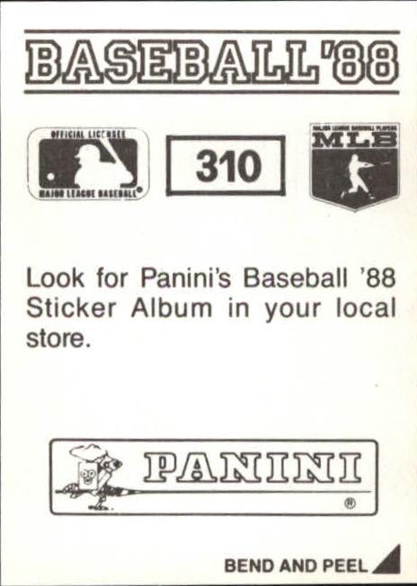 thumbnail 97 - 1988 Panini Stickers Baseball Cards 250-480 (A4394) - You Pick - 10+ FREE SHIP