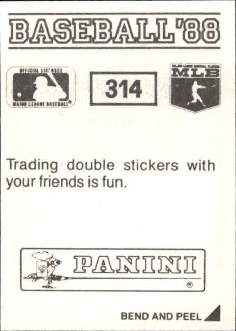 thumbnail 103 - 1988 Panini Stickers Baseball Cards 250-480 (A4394) - You Pick - 10+ FREE SHIP