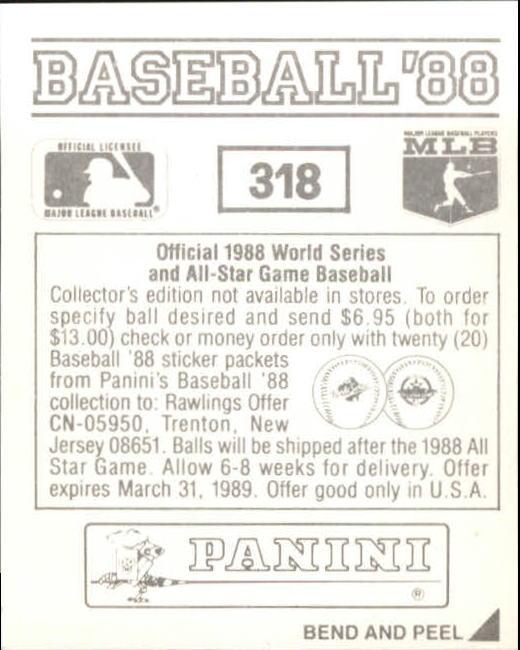 thumbnail 109 - 1988 Panini Stickers Baseball Cards 250-480 (A4394) - You Pick - 10+ FREE SHIP