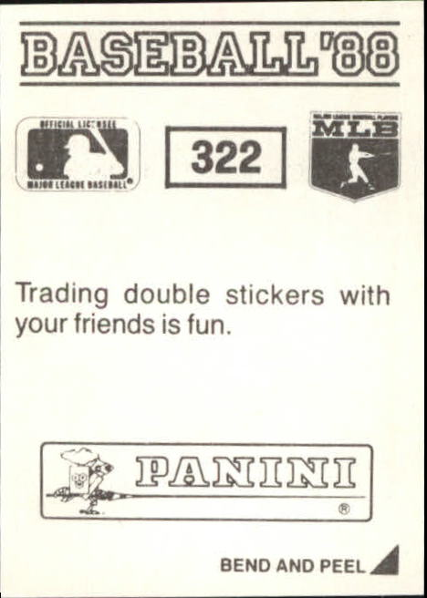 thumbnail 117 - 1988 Panini Stickers Baseball Cards 250-480 (A4394) - You Pick - 10+ FREE SHIP
