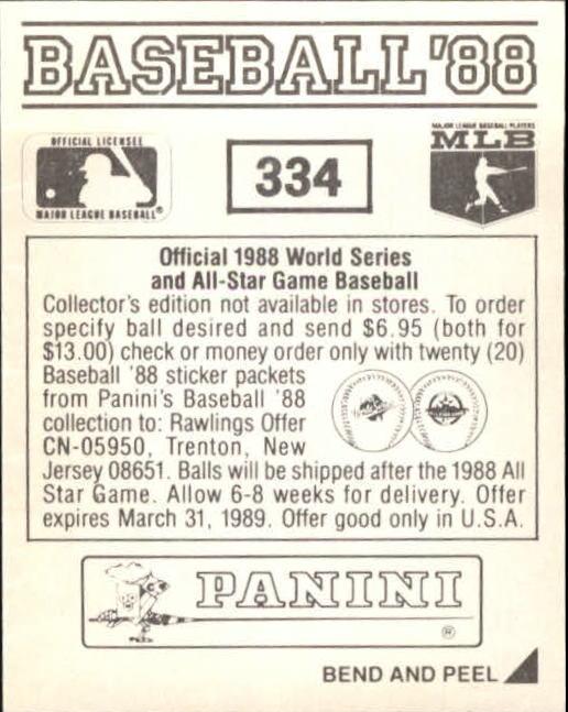 thumbnail 133 - 1988 Panini Stickers Baseball Cards 250-480 (A4394) - You Pick - 10+ FREE SHIP