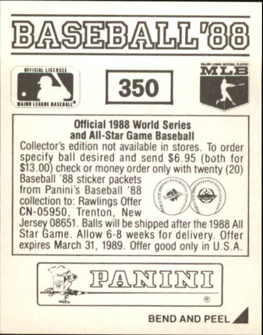 thumbnail 159 - 1988 Panini Stickers Baseball Cards 250-480 (A4394) - You Pick - 10+ FREE SHIP
