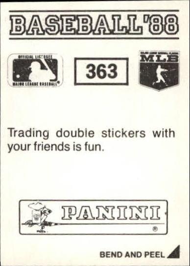 thumbnail 181 - 1988 Panini Stickers Baseball Cards 250-480 (A4394) - You Pick - 10+ FREE SHIP