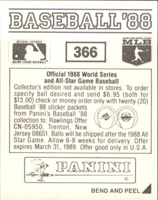 thumbnail 185 - 1988 Panini Stickers Baseball Cards 250-480 (A4394) - You Pick - 10+ FREE SHIP