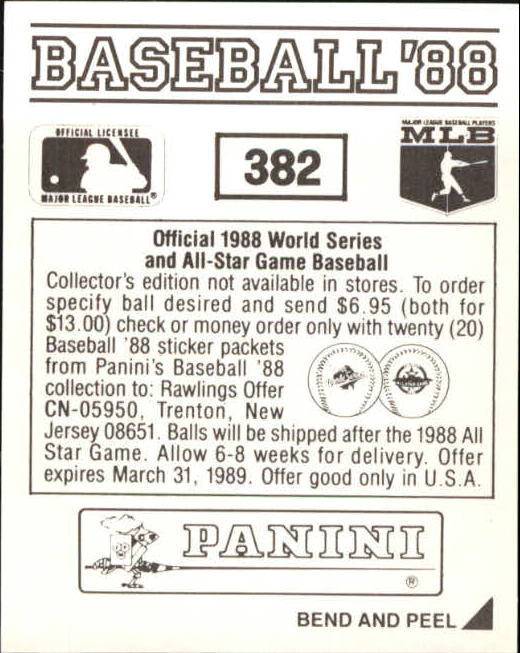 thumbnail 207 - 1988 Panini Stickers Baseball Cards 250-480 (A4394) - You Pick - 10+ FREE SHIP