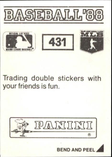 thumbnail 273 - 1988 Panini Stickers Baseball Cards 250-480 (A4394) - You Pick - 10+ FREE SHIP