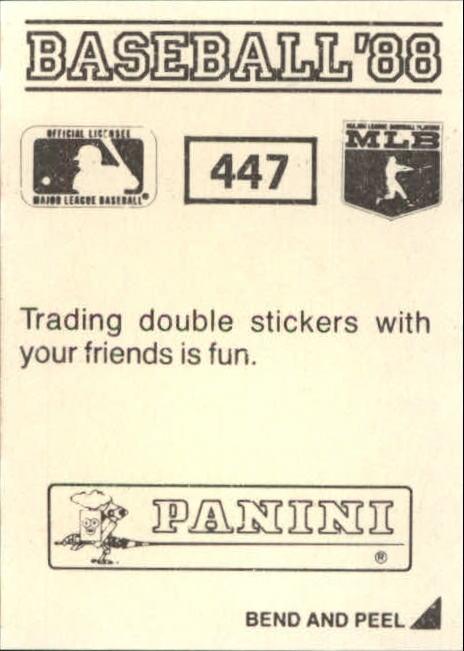 thumbnail 293 - 1988 Panini Stickers Baseball Cards 250-480 (A4394) - You Pick - 10+ FREE SHIP