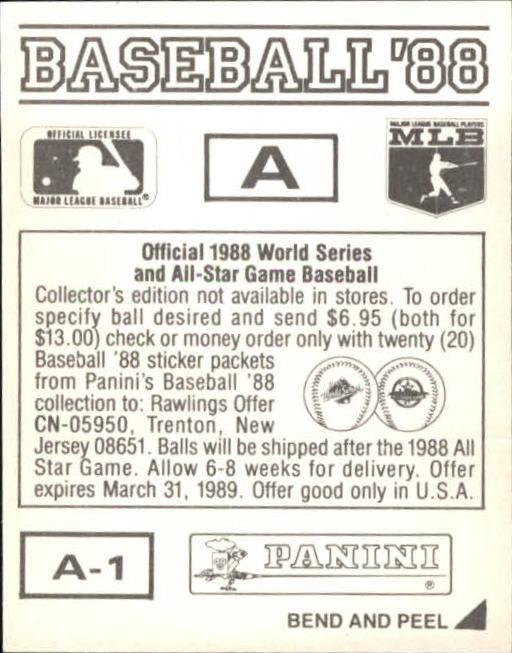 thumbnail 301 - 1988 Panini Stickers Baseball Cards 250-480 (A4394) - You Pick - 10+ FREE SHIP