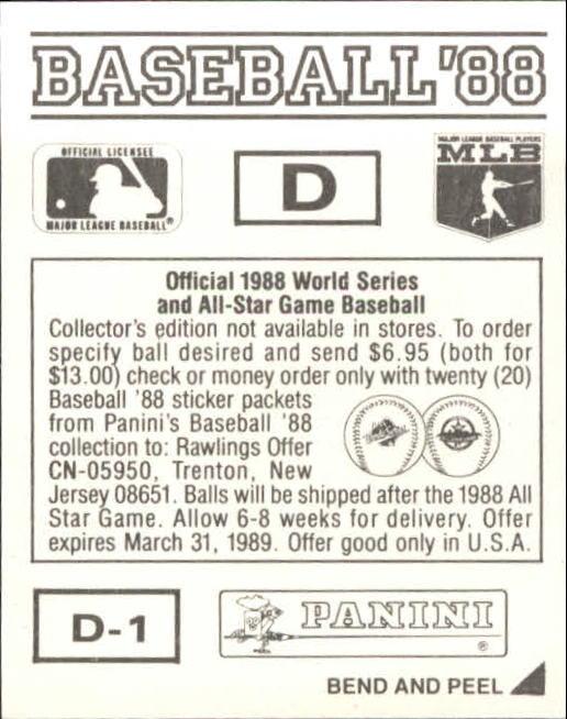 thumbnail 307 - 1988 Panini Stickers Baseball Cards 250-480 (A4394) - You Pick - 10+ FREE SHIP