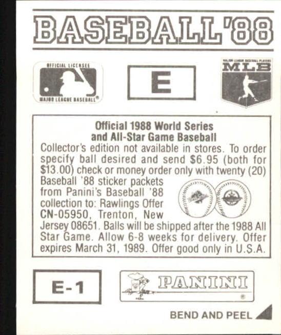 thumbnail 309 - 1988 Panini Stickers Baseball Cards 250-480 (A4394) - You Pick - 10+ FREE SHIP