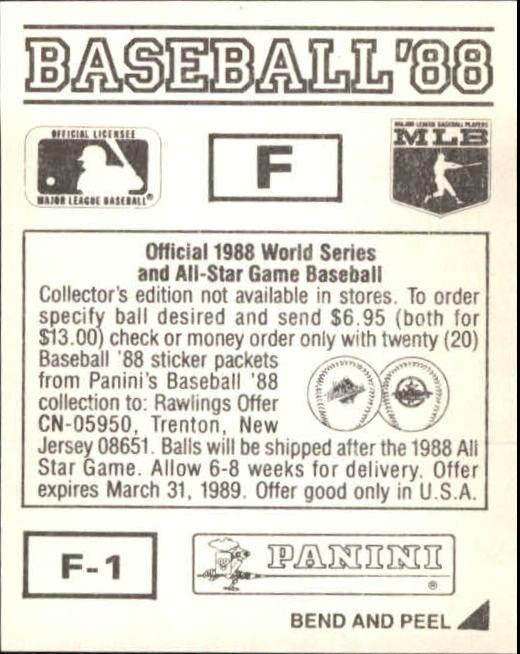 thumbnail 311 - 1988 Panini Stickers Baseball Cards 250-480 (A4394) - You Pick - 10+ FREE SHIP