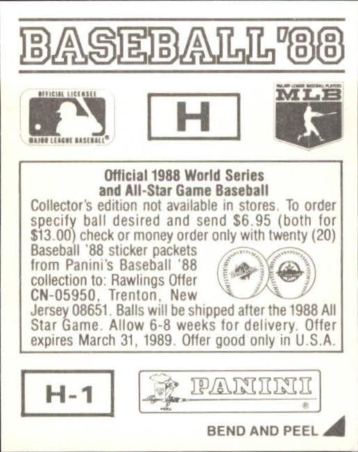 thumbnail 313 - 1988 Panini Stickers Baseball Cards 250-480 (A4394) - You Pick - 10+ FREE SHIP