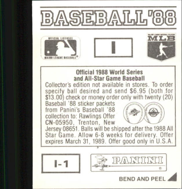 thumbnail 315 - 1988 Panini Stickers Baseball Cards 250-480 (A4394) - You Pick - 10+ FREE SHIP