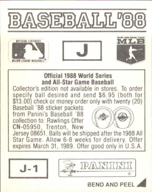 thumbnail 317 - 1988 Panini Stickers Baseball Cards 250-480 (A4394) - You Pick - 10+ FREE SHIP