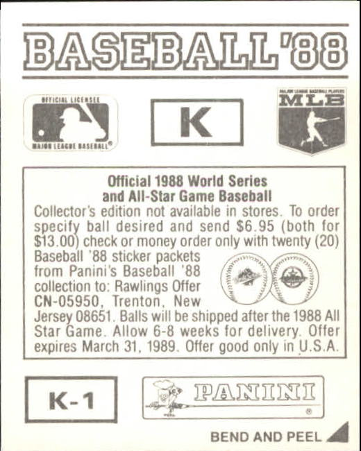 thumbnail 319 - 1988 Panini Stickers Baseball Cards 250-480 (A4394) - You Pick - 10+ FREE SHIP