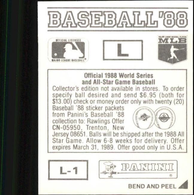 thumbnail 321 - 1988 Panini Stickers Baseball Cards 250-480 (A4394) - You Pick - 10+ FREE SHIP