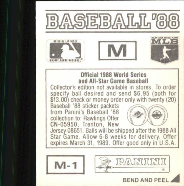 thumbnail 323 - 1988 Panini Stickers Baseball Cards 250-480 (A4394) - You Pick - 10+ FREE SHIP
