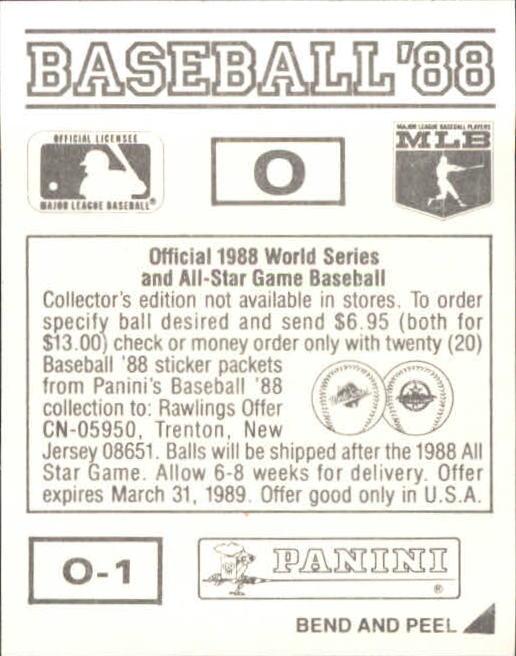 thumbnail 327 - 1988 Panini Stickers Baseball Cards 250-480 (A4394) - You Pick - 10+ FREE SHIP