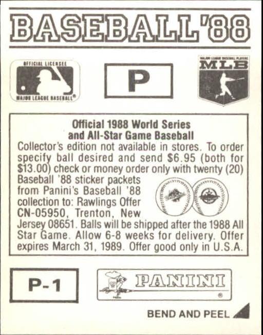 thumbnail 329 - 1988 Panini Stickers Baseball Cards 250-480 (A4394) - You Pick - 10+ FREE SHIP