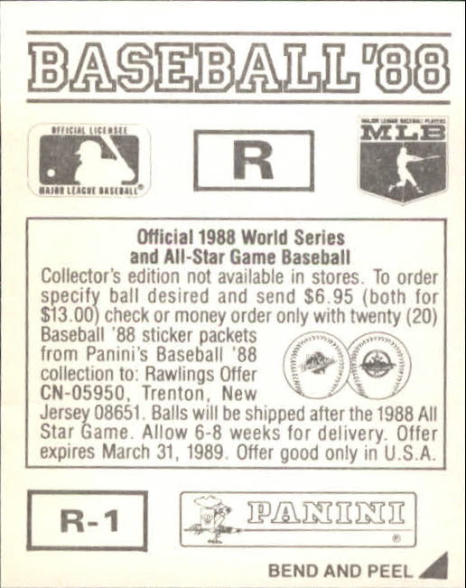 thumbnail 331 - 1988 Panini Stickers Baseball Cards 250-480 (A4394) - You Pick - 10+ FREE SHIP