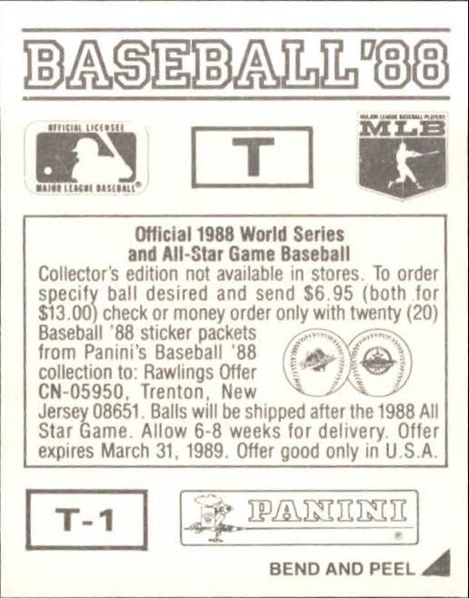 thumbnail 333 - 1988 Panini Stickers Baseball Cards 250-480 (A4394) - You Pick - 10+ FREE SHIP