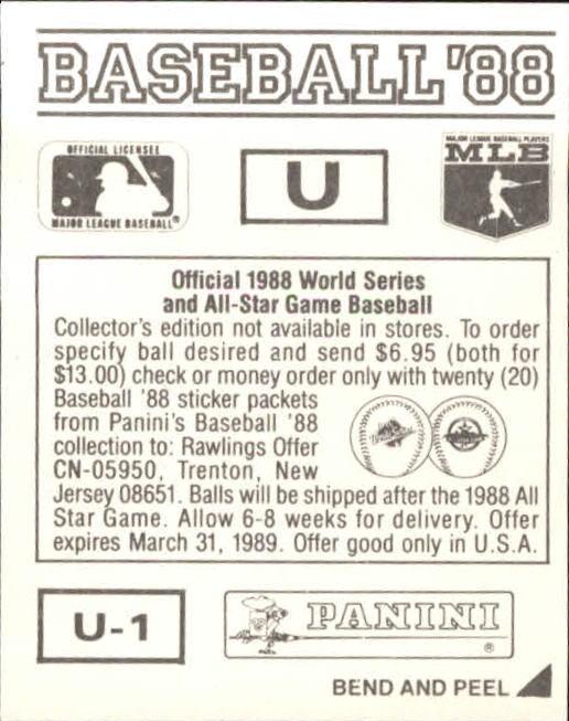 thumbnail 335 - 1988 Panini Stickers Baseball Cards 250-480 (A4394) - You Pick - 10+ FREE SHIP