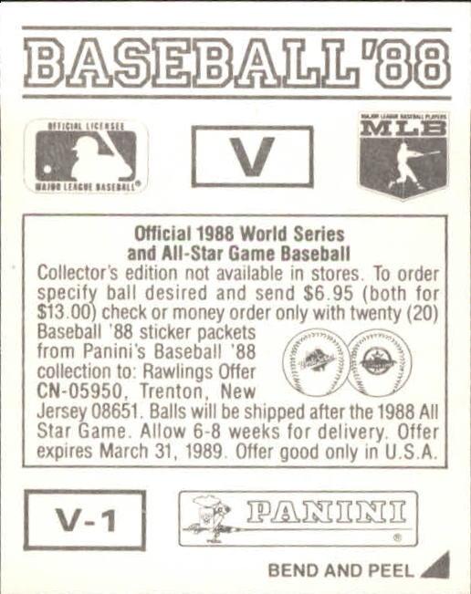 thumbnail 337 - 1988 Panini Stickers Baseball Cards 250-480 (A4394) - You Pick - 10+ FREE SHIP