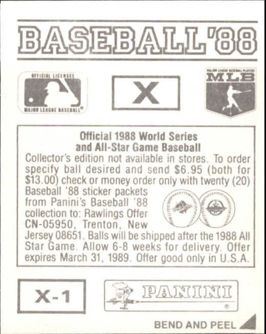 thumbnail 341 - 1988 Panini Stickers Baseball Cards 250-480 (A4394) - You Pick - 10+ FREE SHIP